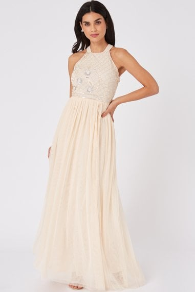 Ruth Nude Floral Sequin Embellished Maxi Dress