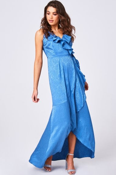 Glory Blue Animal-Print Satin Frill Maxi Wrap Dress