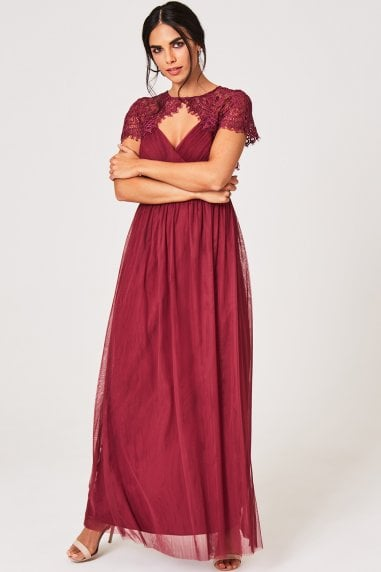 Lillian Dusty Wine Lace Keyhole Maxi Dress