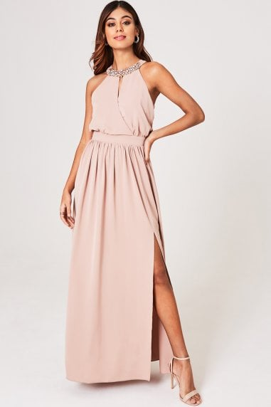 Luxury Tabitha Mink Hand-Embellished Halter Maxi Dress