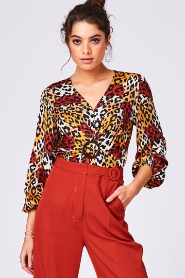 Lavish Orange Leopard-Print Satin Buckle Detail Blouse