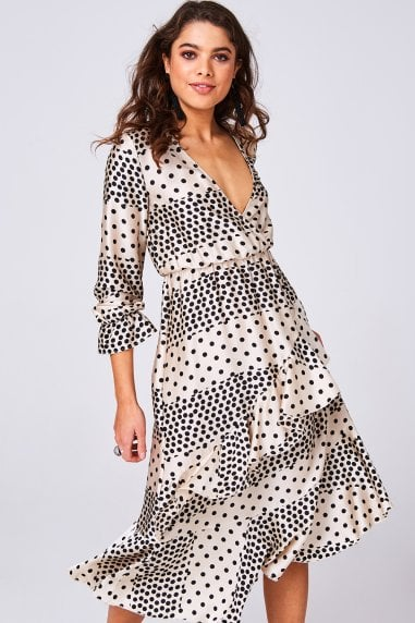 Harmony Cream Polka-Dot Satin Frill Midi Dress