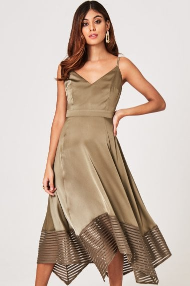 Laurie Khaki Satin Midaxi Dress