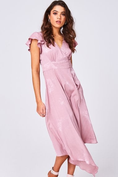 Halo Pink Floral-Print Satin Hanky Hem Midi Dress