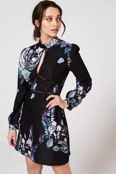 Roxby Black Floral Long-Sleeve Mini Shift Dress
