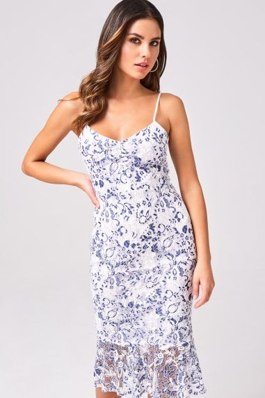 Triumph White And Navy Two-Tone Lace Bodycon Midi Dress