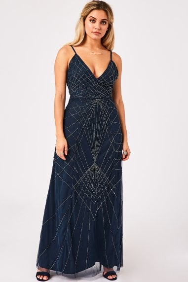 Luxury Rubin Petrol Blue Deco Hand-Embellished Maxi Dress