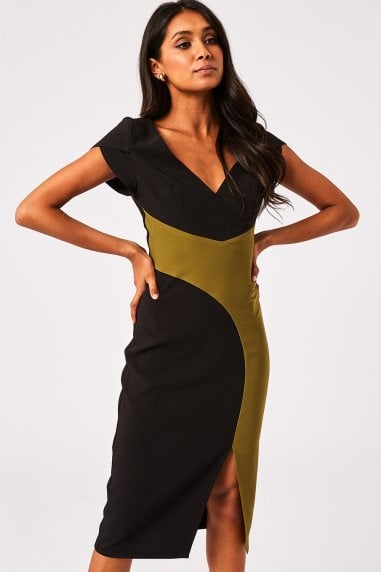 Fuji Olive And Black Colour Block Dress