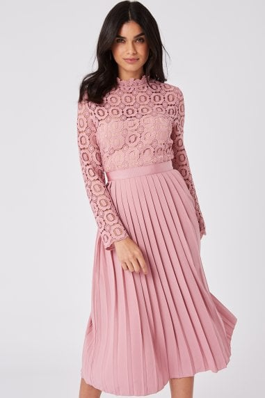 Alice Pink Crochet Top Midaxi Dress With Pleated Skirt