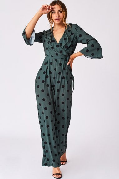 Rubix Green Polka-Dot Wrap Jumpsuit