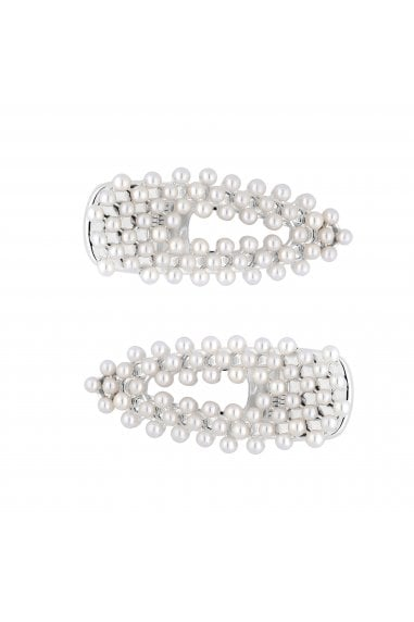 Silver Plated Faux Pearl Crocodile Clips Pack Of 2