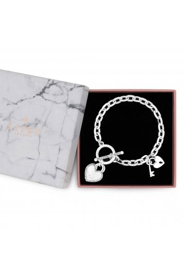 Silver Plated Crystal Heart Charm T Bar Bracelet - Gift Boxed