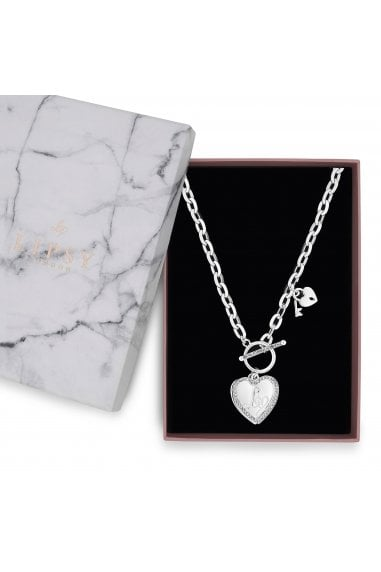 Silver Plated Crystal Heart Charm T Bar Necklace - Gift Boxed