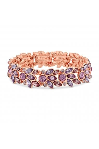 Rose Gold Plated Pink Crystal Leaf Stretch Bracelet
