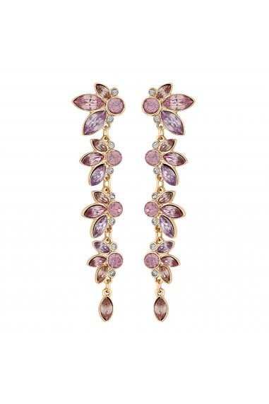 Rose Gold Plated Pink Crystal Leaf Linear Drop Earrings