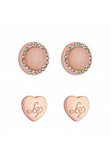 Rose Gold Plated Look Of Rose Quartz Heart Stud Earrings Pack Of 2