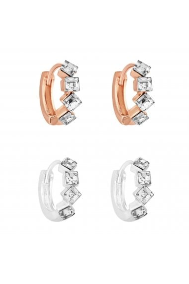 Silver Plated And Rose Gold Plated Cubic Zirconia Stone Set Hoop Earrings Pack Of 2
