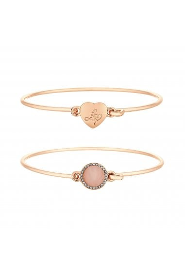 Rose Gold Plated Look Of Rose Quartz Circle And Heart Bangle Pack Of 2