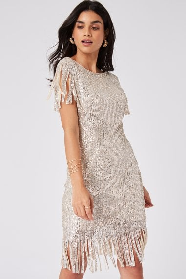 Fame Cream Sequin Fringe Bodycon Midi Dress