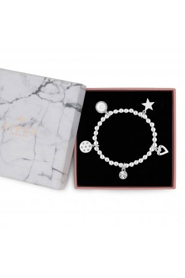 Silver Plated Stretch Ball Charm Bracelet - Gift Boxed