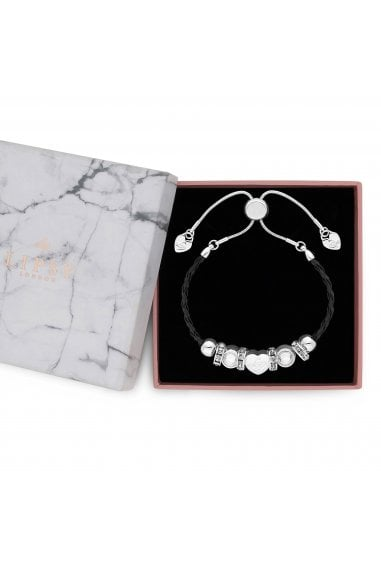 Silver Plated Charm Bracelet With Black Plait Strap - Gift Boxed