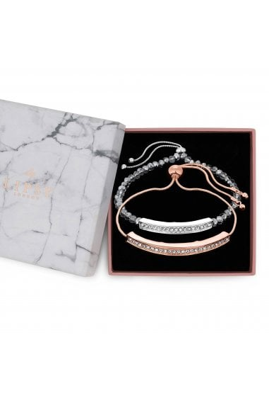 Mixed Plate Pave Bar Braclet Pack Of 2 - Gift Boxed
