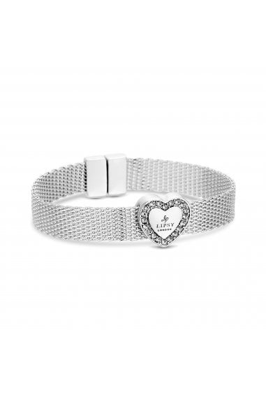 Silver Plated Mesh Bracelet With Heart - Gift Boxed