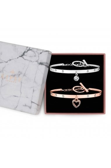 Mixed Plate Diamante Charm Cuff Braclet Pack Of 2 - Gift Boxed