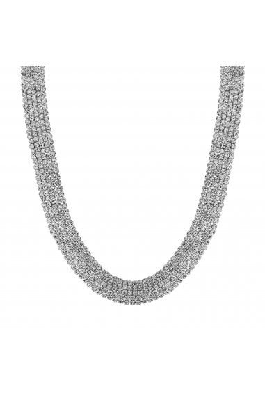 Silver Plated Crystal 5 Row Cupchain Collar Necklace