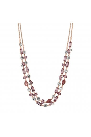 Rose Gold Plated Pink Crystal Parour Double Row Necklace