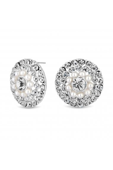 Silver Plated Pearl And Crystal Large Round Stud Earring