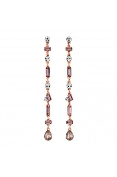 Rose Gold Plated Pink Crystal Mix Shape Linear Drop Earring