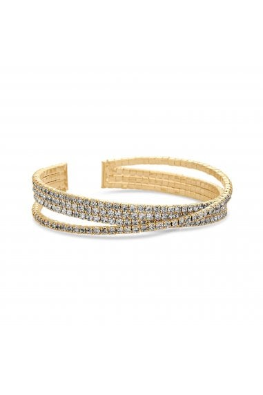Gold Plated Crystal Crossover Cuff Bracelet
