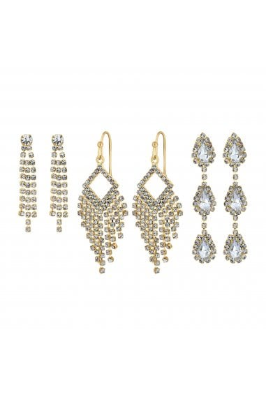 Gold Plated Crystal Drop Earrings Pack Of 3