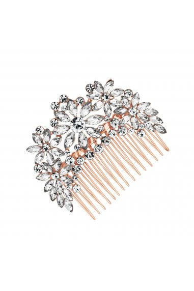 Crystal Flower Comb Rose Gold