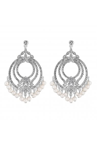 Silver Plated Floral Front Drop Earrings