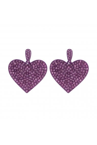 Coloured Plate Purple Heart Drop Earrings
