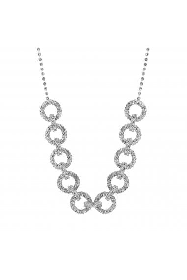 Silver Plated Pave Circle Link Allway Necklace