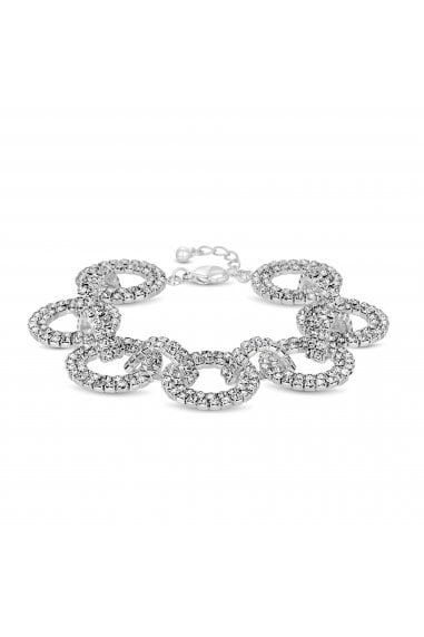 Silver Plated Pave Circle Link Bracelet