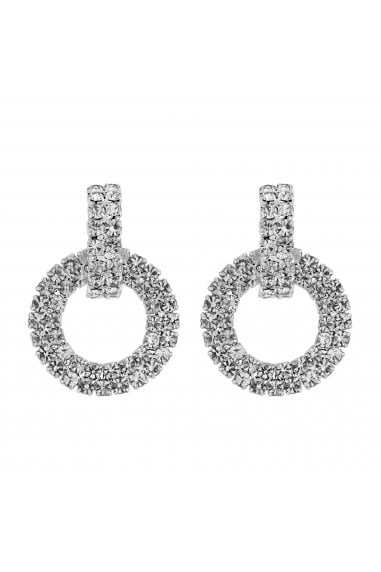 Silver Plated Crystal Pave Circle Link Stud Earring