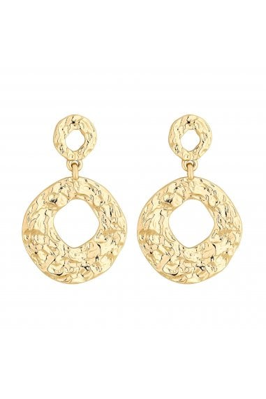 Gold Plated Molten Round Double Drop Earring
