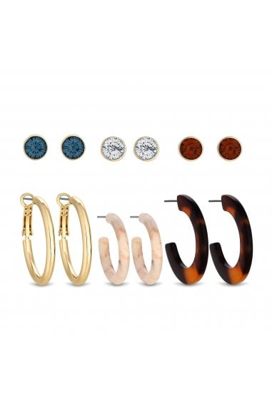 Gold Plated Hoop And Resin Stud Earrings Pack Of 6