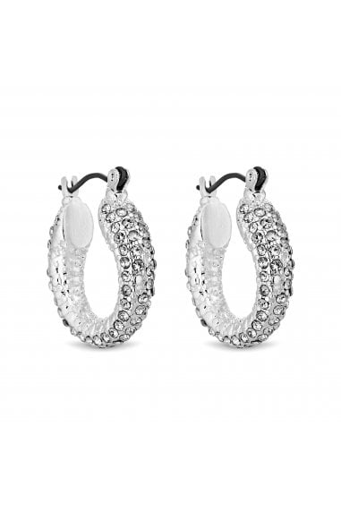 Silver Plated Pave Crystal Hoop Earring
