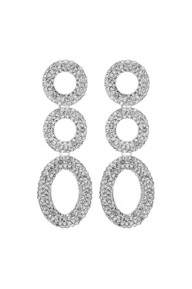 Silver Plated Pave Crystal Circle Drop Earrings Pack Of 3