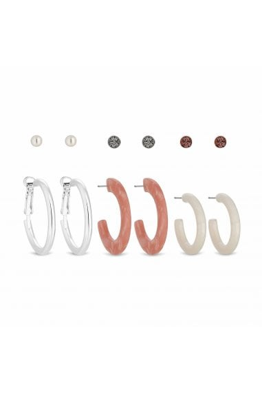 Silver Plated Pink Stud And Resin Hoop Earrings Pack Of 6
