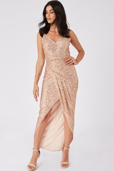 Prestige Copper Sequin Wrap Maxi Dress