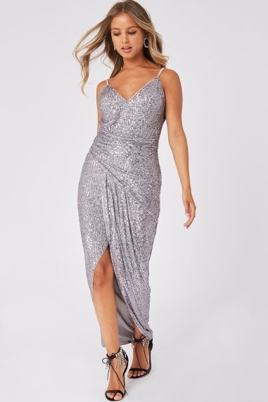Prestige Silver Sequin Wrap Maxi Dress