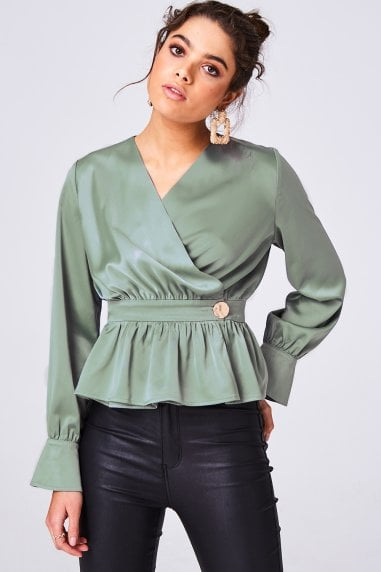 Aura Fern Green Satin Button Detail Peplum Blouse
