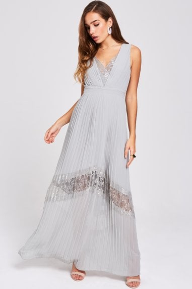 Lissa Waterlily Lace-Trim Maxi Dress