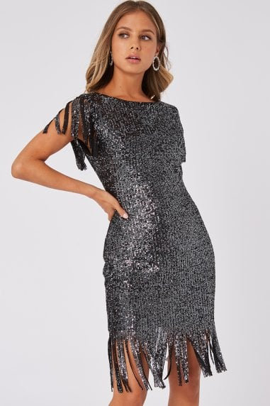 Fame Black Sequin Fringe Bodycon Midi Dress